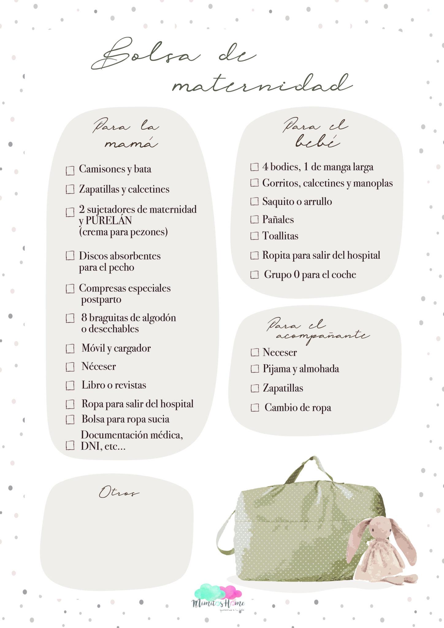 qué tienes que llevar en la bolsa de maternidad descargable