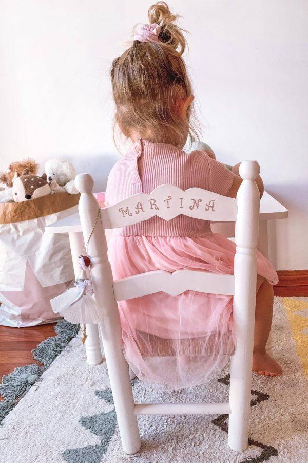 MESA INFANTIL ARTESANAL BLANCA