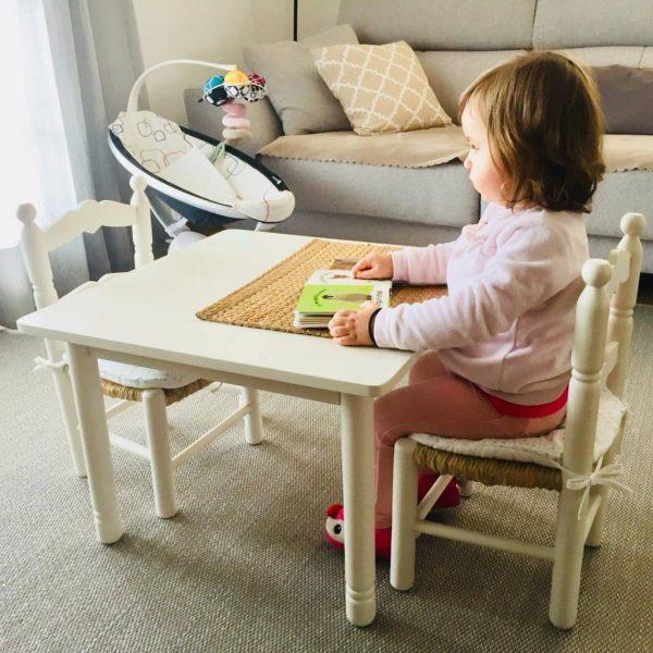 MESA INFANTIL ARTESANAL BLANCO ROTO